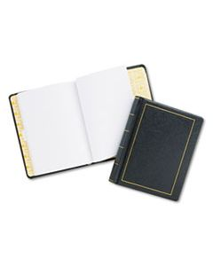 WLJ039511 LOOSELEAF MINUTE BOOK, BLACK LEATHER-LIKE COVER, 250 UNRULED PAGES, 8 1/2 X 11