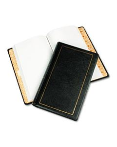 WLJ039531 LOOSELEAF MINUTE BOOK, BLACK LEATHER-LIKE COVER, 250 UNRULED PAGES, 8 1/2 X 14