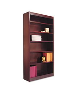 "ALEBCS67236MY SQUARE CORNER WOOD VENEER BOOKCASE, SIX-SHELF, 35.63""W X 11.81""D X 71.73""H, MAHOGANY"