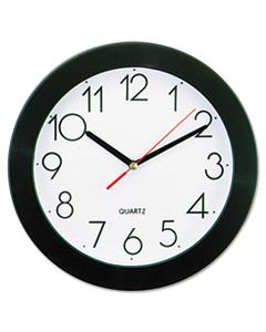 "UNV10421 BOLD ROUND WALL CLOCK, 9.75"" OVERALL DIAMETER, BLACK CASE, 1 AA (SOLD SEPARATELY)"