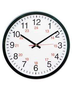 "UNV10441 24-HOUR ROUND WALL CLOCK, 12.63"" OVERALL DIAMETER, BLACK CASE, 1 AA (SOLD SEPARATELY)"