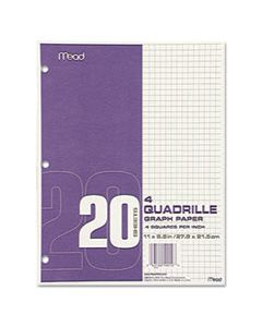 MEA19010 GRAPH PAPER TABLET, 3-HOLE, 8.5 X 11, QUADRILLE: 4 SQ/IN, 20 SHEETS/PAD, 12 PADS/PACK