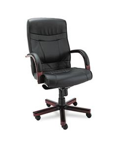 ALEMA41LS10M ALERA MADARIS SERIES HIGH-BACK KNEE TILT LEATHER CHAIR WITH WOOD TRIM, SUPPORTS UP TO 275 LBS, BLACK SEAT/BACK, MAHOGANY BASE