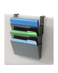DEF73502RT DOCUPOCKET THREE-POCKET FILE SET FOR PARTITION WALLS, LETTER, 13 X 7 X 4, SMOKE