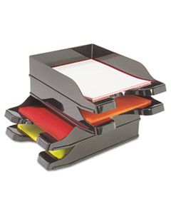 """DEF63904 DOCUTRAY MULTI-DIRECTIONAL STACKING TRAY SET, 2 SECTIONS, LETTER TO LEGAL SIZE FILES, 10.13"""" X 13.63"""" X 2.5"""", BLACK, 2/PACK"""