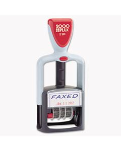 """COS011032 TWO-COLOR MESSAGE DATER, 1 3/4 X 1, """"FAXED,"""" SELF-INKING, BLUE/RED"""
