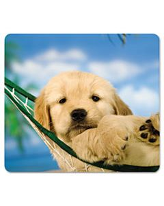 FEL5913901 RECYCLED MOUSE PAD, NONSKID BASE, 9 X 8 X 1/16, PUPPY IN HAMMOCK