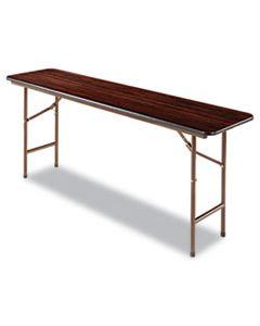 ALEFT727218MY WOOD FOLDING TABLE, RECTANGULAR, 71 7/8W X 17 3/4D X 29 1/8H, MAHOGANY