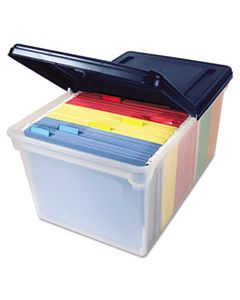 """AVT55797 EXTRA-CAPACITY 28"""" FILE TOTE, LETTER FILES, 23.25"""" X 14.25"""" X 10.63"""", CLEAR/NAVY"""