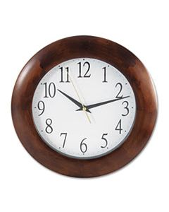 "UNV10414 ROUND WOOD WALL CLOCK, 12.75"" OVERALL DIAMETER, CHERRY CASE, 1 AA (SOLD SEPARATELY)"
