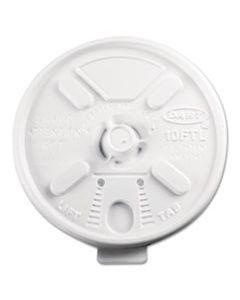 DCC10FTL LIFT N' LOCK PLASTIC HOT CUP LIDS, FITS 10OZ CUPS, WHITE, 1000/CARTON