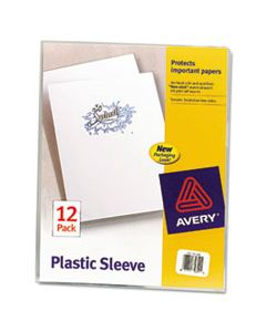 AVE72311 CLEAR PLASTIC SLEEVES, LETTER SIZE, CLEAR, 12/PACK