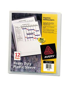 AVE72611 HEAVY-DUTY PLASTIC SLEEVES, LETTER SIZE, CLEAR, 12/PACK