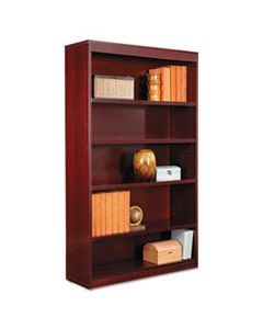 "ALEBCS56036MY SQUARE CORNER WOOD VENEER BOOKCASE, FIVE-SHELF, 35.63""W X 11.81""D X 60""H, MAHOGANY"