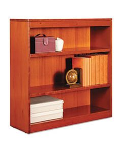 "ALEBCS33636MC SQUARE CORNER WOOD BOOKCASE, THREE-SHELF, 35.63""W X 11.81""D X 35.91""H, MEDIUM CHERRY"
