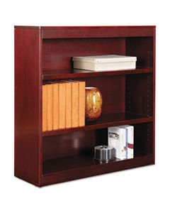 "ALEBCS33636MY SQUARE CORNER WOOD VENEER BOOKCASE, THREE-SHELF, 35.63""W X 11.81""D X 35.91""H, MAHOGANY"