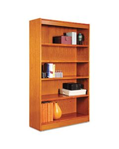 "ALEBCS56036MC SQUARE CORNER WOOD BOOKCASE, FIVE-SHELF, 35.63""W X 11.81""D X 60""H, MEDIUM CHERRY"