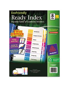 AVE11081 CUSTOMIZABLE TABLE OF CONTENTS READY INDEX DIVIDERS WITH MULTICOLOR TABS, 8-TAB, 1 TO 8, 11 X 8.5, WHITE, 3 SETS