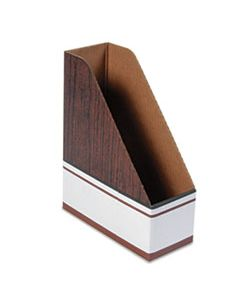 FEL07223 CORRUGATED CARDBOARD MAGAZINE FILE, 4 X 9 X 11 1/2, WOOD GRAIN, 12/CARTON