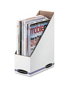 FEL10723 CORRUGATED CARDBOARD MAGAZINE FILE, 4 X 9 1/4 X 11 3/4, WHITE, 12/CARTON