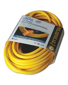 COC03488 POLAR/SOLAR OUTDOOR EXTENSION CORD, 50FT, THREE-OUTLETS, YELLOW