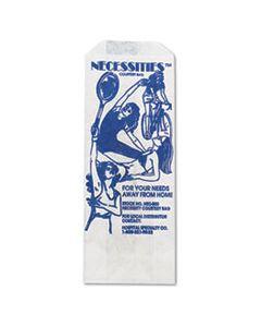 "HOSNEC500 FEMININE HYGIENE CONVENIENCE DISPOSAL BAG, 3"" X 8"", WHITE, 500/CARTON"