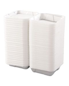 BWK0100 SNAP-IT FOAM HINGED LID CONTAINERS, 1-COMP, 9 1/4 X 9 1/4 X 3, WHITE, 200/CARTON