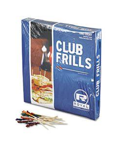"RPPR812W CLUB CELLOPHANE-FRILL WOOD PICKS, 4"", ASSORTED, 10000/CARTON"