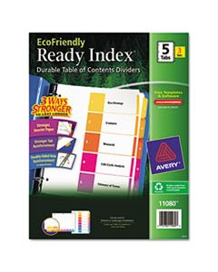 AVE11080 CUSTOMIZABLE TABLE OF CONTENTS READY INDEX DIVIDERS WITH MULTICOLOR TABS, 5-TAB, 1 TO 5, 11 X 8.5, WHITE, 3 SETS