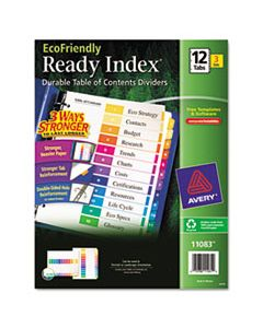 AVE11083 CUSTOMIZABLE TABLE OF CONTENTS READY INDEX DIVIDERS WITH MULTICOLOR TABS, 12-TAB, 1 TO 12, 11 X 8.5, WHITE, 3 SETS