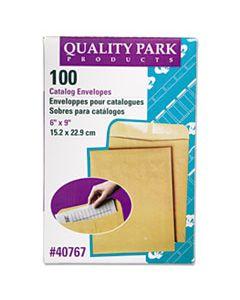 QUA40767 CATALOG ENVELOPE, #1, CHEESE BLADE FLAP, GUMMED CLOSURE, 6 X 9, BROWN KRAFT, 100/BOX