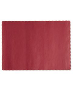HFM310521 SOLID COLOR SCALLOPED EDGE PLACEMATS, 9.5 X 13.5, RED, 1,000/CARTON