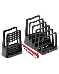 """AVE73523 ADJUSTABLE FILE RACK, 5 SECTIONS, LETTER SIZE FILES, 8"""" X 11.5"""" X 10.5"""", BLACK"""