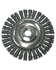 ANRR4S58 STRINGER BEAD WHEEL BRUSH, 4IN DIAMETER, CARBON STEEL, .02IN WIRE