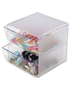 DEF350101 STACKABLE CUBE ORGANIZER, 2 DRAWERS, 6 X 7 1/8 X 6, CLEAR