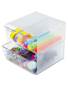 DEF350301 STACKABLE CUBE ORGANIZER, 4 DRAWERS, 6 X 7 1/8 X 6, CLEAR