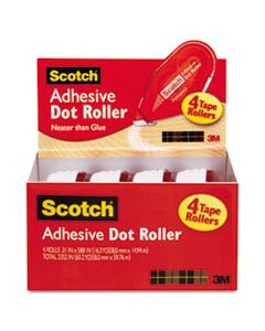 """MMM6055BNS DOUBLE-SIDED ADHESIVE ROLLER, 0.3"""" X 49 FT, DRIES CLEAR, 4/PACK"""