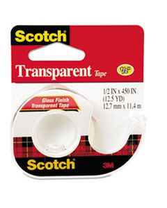 "MMM144 TRANSPARENT TAPE IN HANDHELD DISPENSER, 1"" CORE, 0.5"" X 37.5 FT, TRANSPARENT"