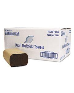 GENMULTIFOLDKR MULTIFOLD TOWEL, 1-PLY, BROWN, 250/PACK, 16 PACKS/CARTON