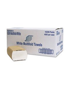 GENMULTIFOLDWH MULTIFOLD TOWEL, 1-PLY, WHITE, 250/PACK, 16 PACKS/CARTON