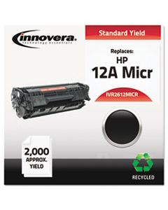 IVR2612MICR REMANUFACTURED Q2612A(M) (12AM) MICR TONER, 2000 PAGE-YIELD, BLACK