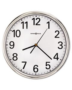 "MIL625561 HAMILTON WALL CLOCK, 12"" OVERALL DIAMETER, SILVER CASE, 1 AA (SOLD SEPARATELY)"