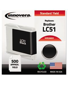 IVR20051 REMANUFACTURED LC51BK INK, 500 PAGE-YIELD, BLACK