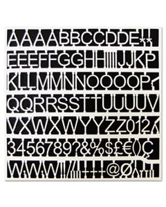 """BVCCAR1002 WHITE PLASTIC SET OF LETTERS, NUMBERS & SYMBOLS, UPPERCASE, 1"""" DIA."""