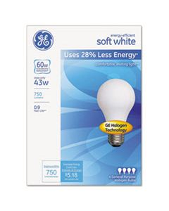 GEL66247 DIMMABLE HALOGEN A-LINE BULB, 43 W, SOFT WHITE, 4/PACK