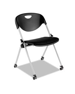 ALESL651 ALERA SL SERIES NESTING STACK CHAIR WITHOUT ARMS, BLACK SEAT/BLACK BACK, GRAY BASE, 2/CARTON