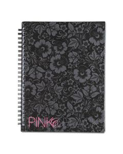 JDK400015933 NOTEBOOK, NARROW RULE, BLACK/PINK/FLORAL COVER, 8.25 X 6.25, 70 SHEETS