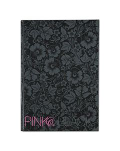 JDK400015934 NOTEBOOK, MEDIUM/COLLEGE RULE, BLACK/PINK/FLORAL COVER, 11.68 X 8.25, 96 SHEETS
