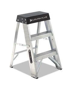 DADAS3002 ALUMINUM STEP STOOL, 2-STEP, 17W X 18.25 SPREAD X 26H, ALUMINUM/BLACK
