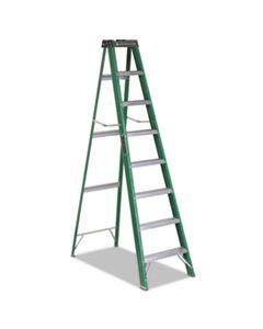 DADFS4008 FIBERGLASS STEP LADDER, 8 FT WORKING HEIGHT, 225 LBS CAPACITY, 7 STEP, GREEN/BLACK